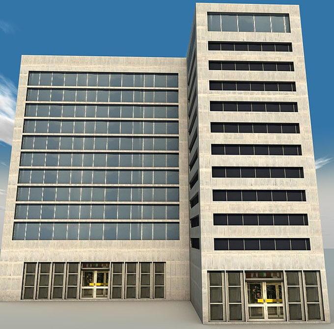 11 Floors Building 3D Model