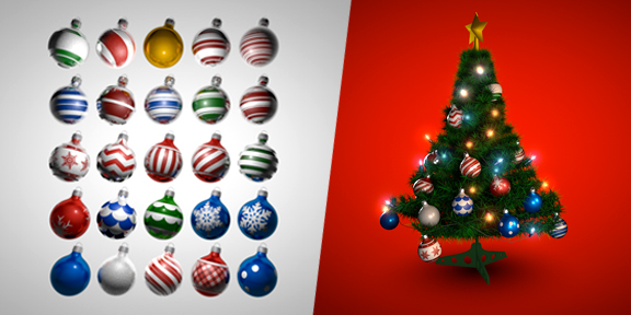Holiday Bulb Ornament #C4D Shader Pack by eyedesyn.com