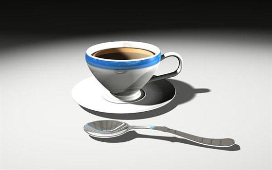 Coffe Mug & Spoon 3D Model
