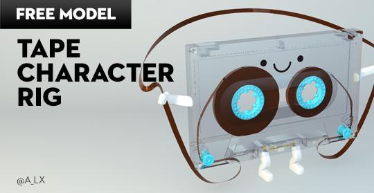 tape character 3d model