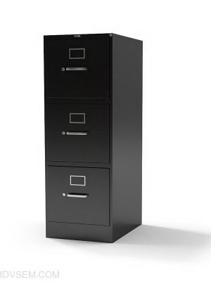 3 Section Office Cabinet 3D Model