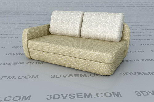 3D Double Sofa Model