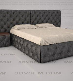 Natural Wood Base Double Bed 3D Model