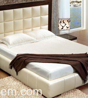 3D Model Bed With Soft Backrest in Wooden Frame