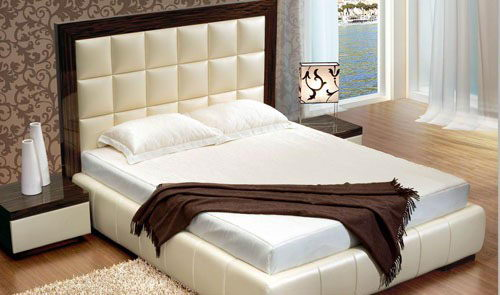 3D Model Bed With Soft Backrest in Wooden Frame