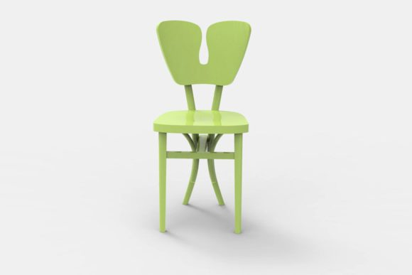 4 Colours Wood Chair 3D Model