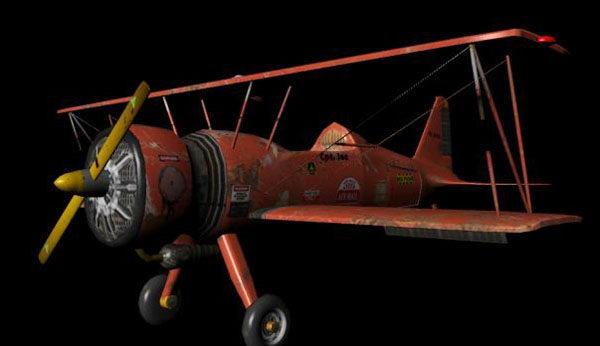 Air plane (Biplane) 3d Model