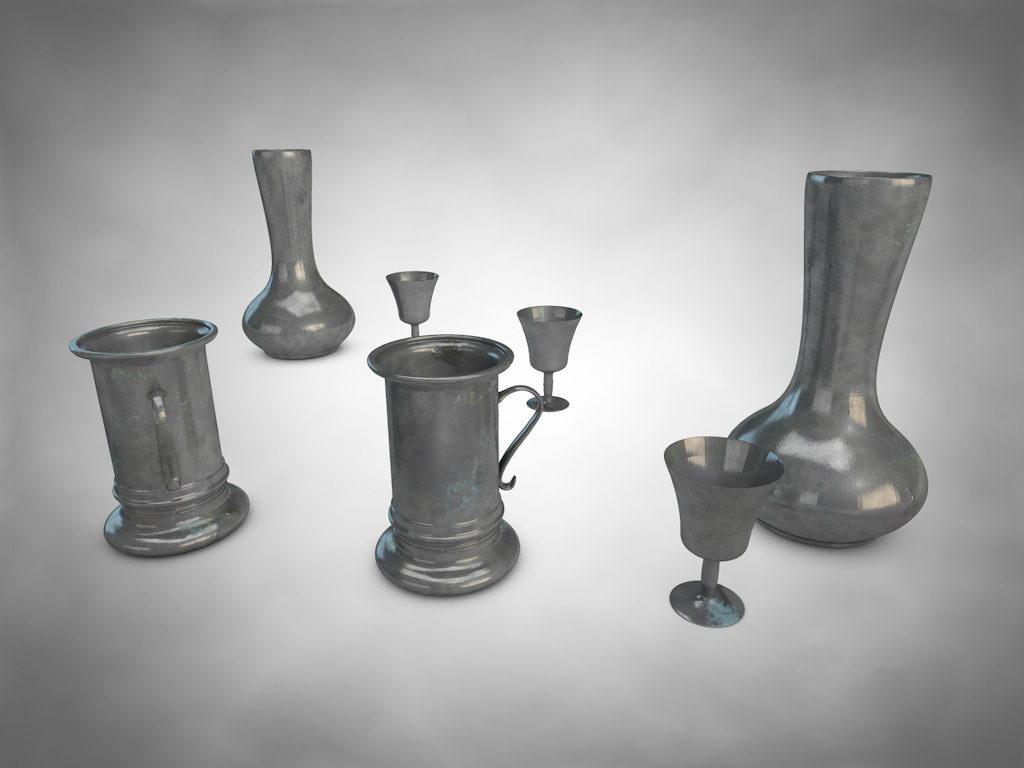 Antique Metal Dishes 3D Model