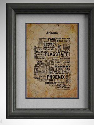 Arizona Map Wall Picture 3D Model