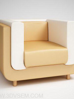 Beige Leather Armchair 3D Model