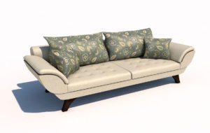 Beige Textile Sofa 3D Model