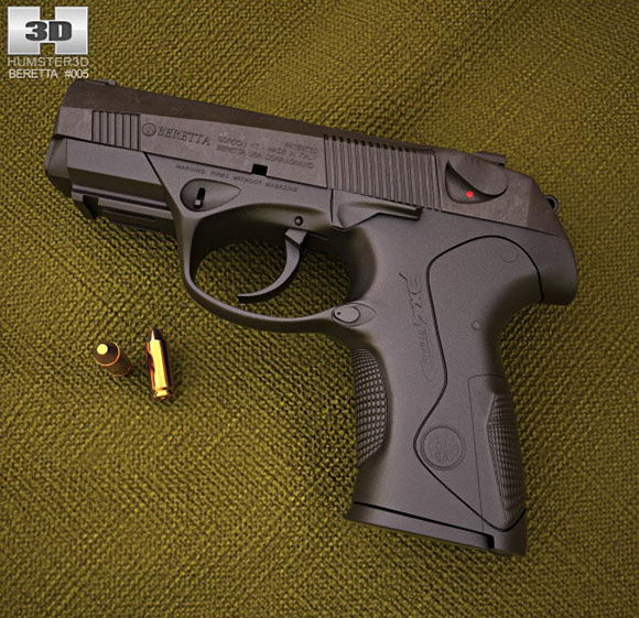 Realistic Beretta Px4 Gun 3D Model