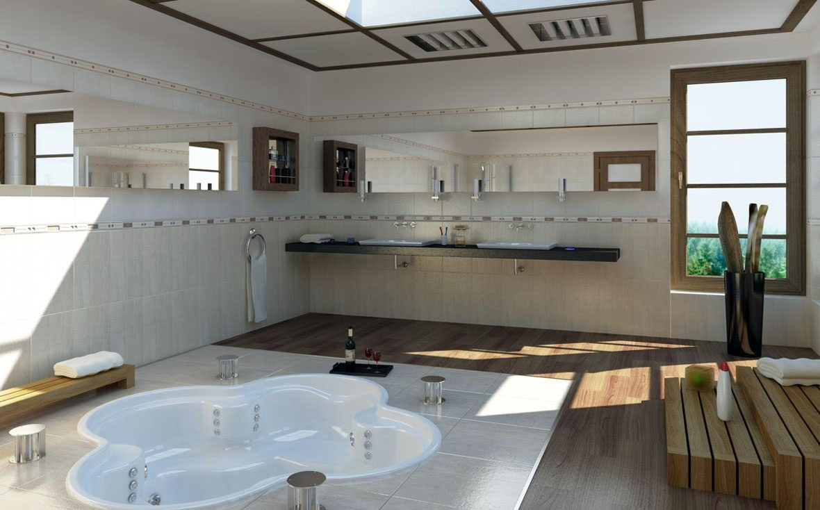 Big Bathroom Design Interior Scene