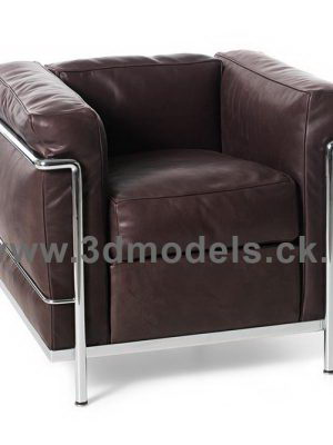 Black Leather Armchair 3D Model