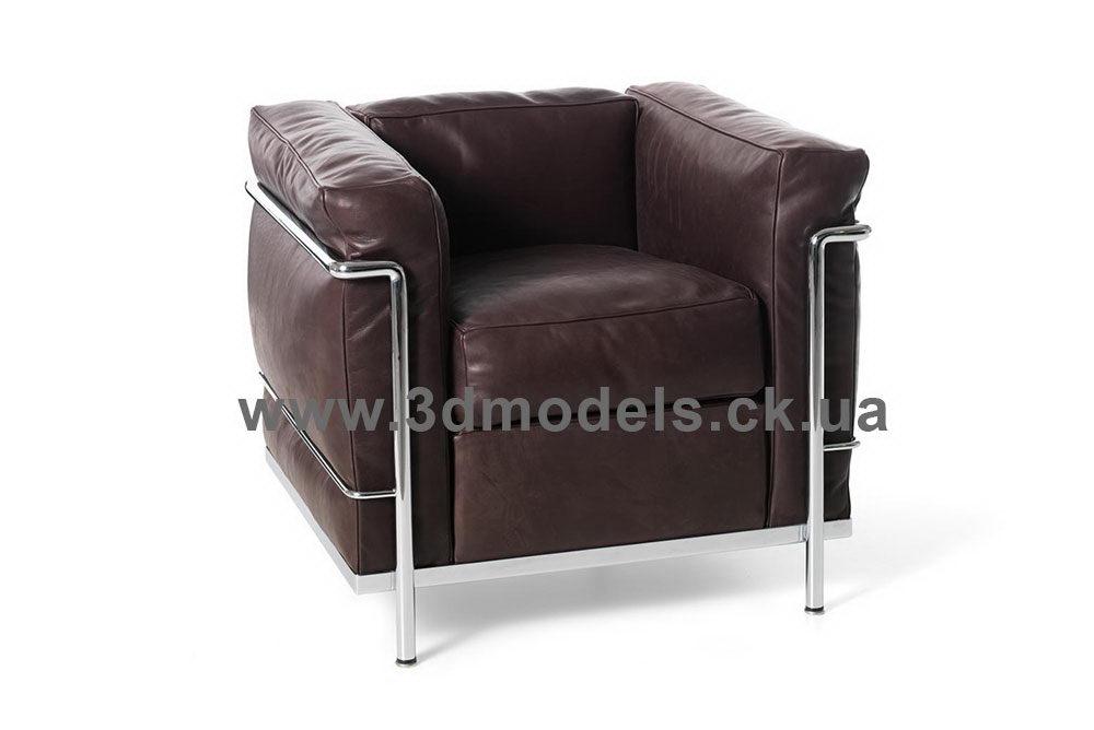 Black Leather Armchair 3D Model