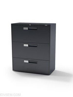 Black Metal Office Cabinet 3D Model