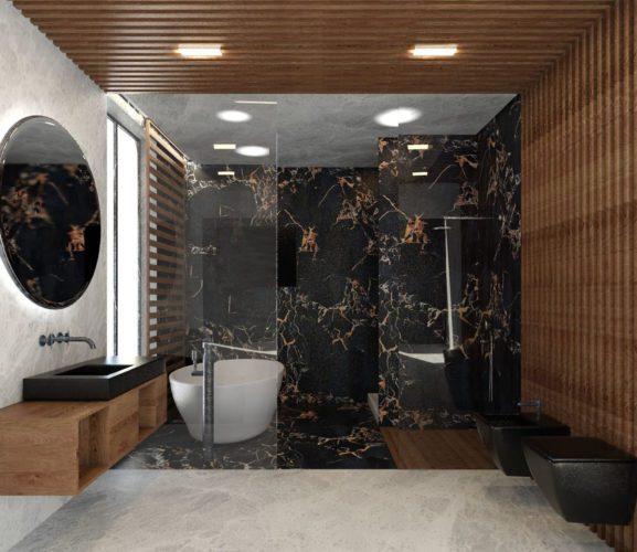 Black and Wooden Design 3D Bathroom Scene