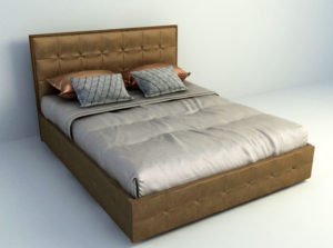 Brown Bed Free 3D Model Download