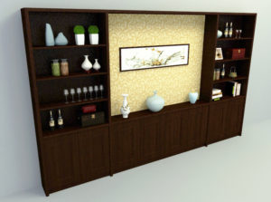 Brown Wooden Wall Panel 3D Model