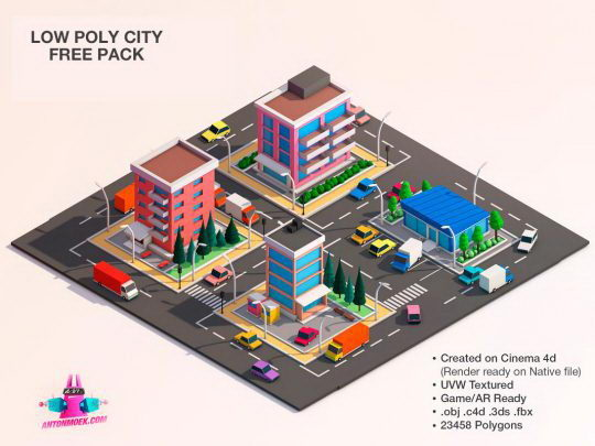 Cartoon City 3D Model - Free C4D Models