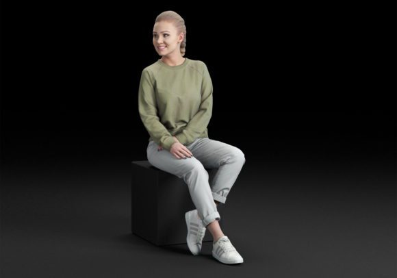 Casual woman sitting and talking 3D Model