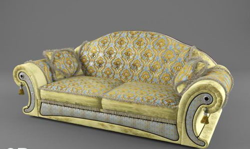 Classic Double Sofa 3D Model