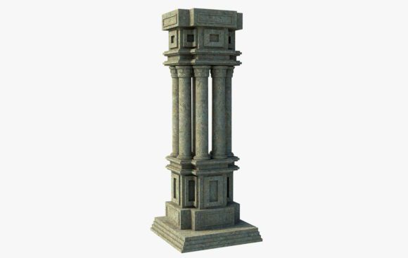 Classic Stone Pilars 3D Model