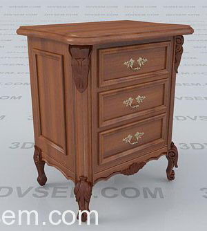 Classic Wooden Bedside Table 3D Model