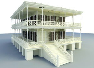 Classic Wooden House Building 3D Model