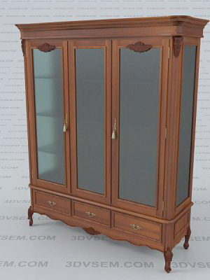 Classic Wooden Showcase 3D Model