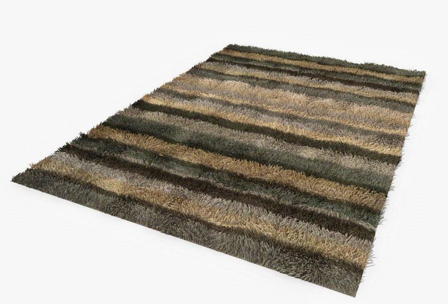 Color Strip Fluffy Carpet 3D Model