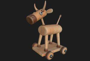 Cow on Wheels Toy 3D Model