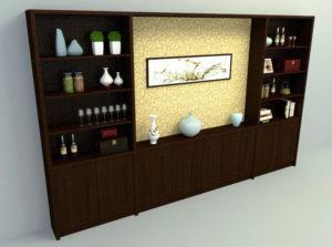 Dark Wood 3D Wall Cabinet