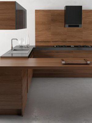 Dark Wooden Kitchen Design 3D Model
