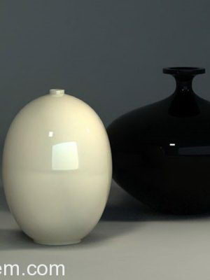 Decorative Black and White Vase 3D Model
