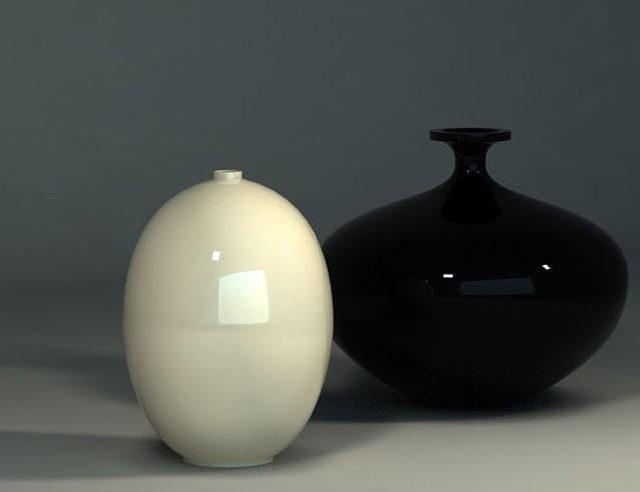 Decorative Black and White Vase 3D Model