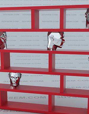 Decorative Figures Bookcase 3D Model