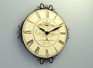 Decorative Old Wall Clock 3D Model