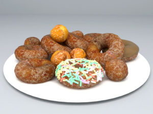 Donuts and Plate 3D Model