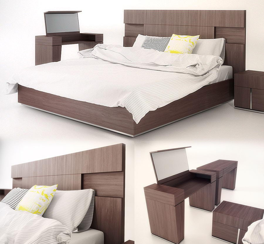 Double Bed 3D Model Cinema 4D-Vray