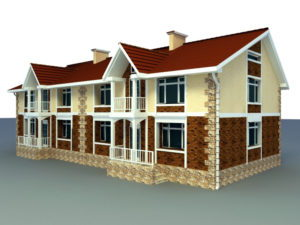Double Village House Building 3D Model