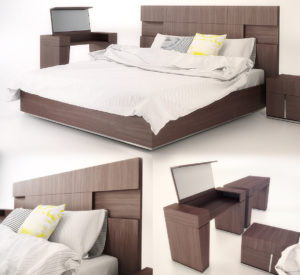 Elegant Double Bed Collection 3D Model