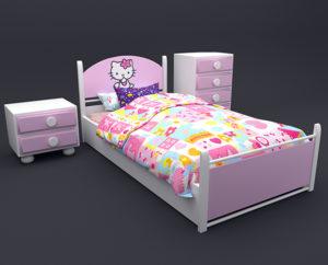 Free 3D Kids Bed Set Model