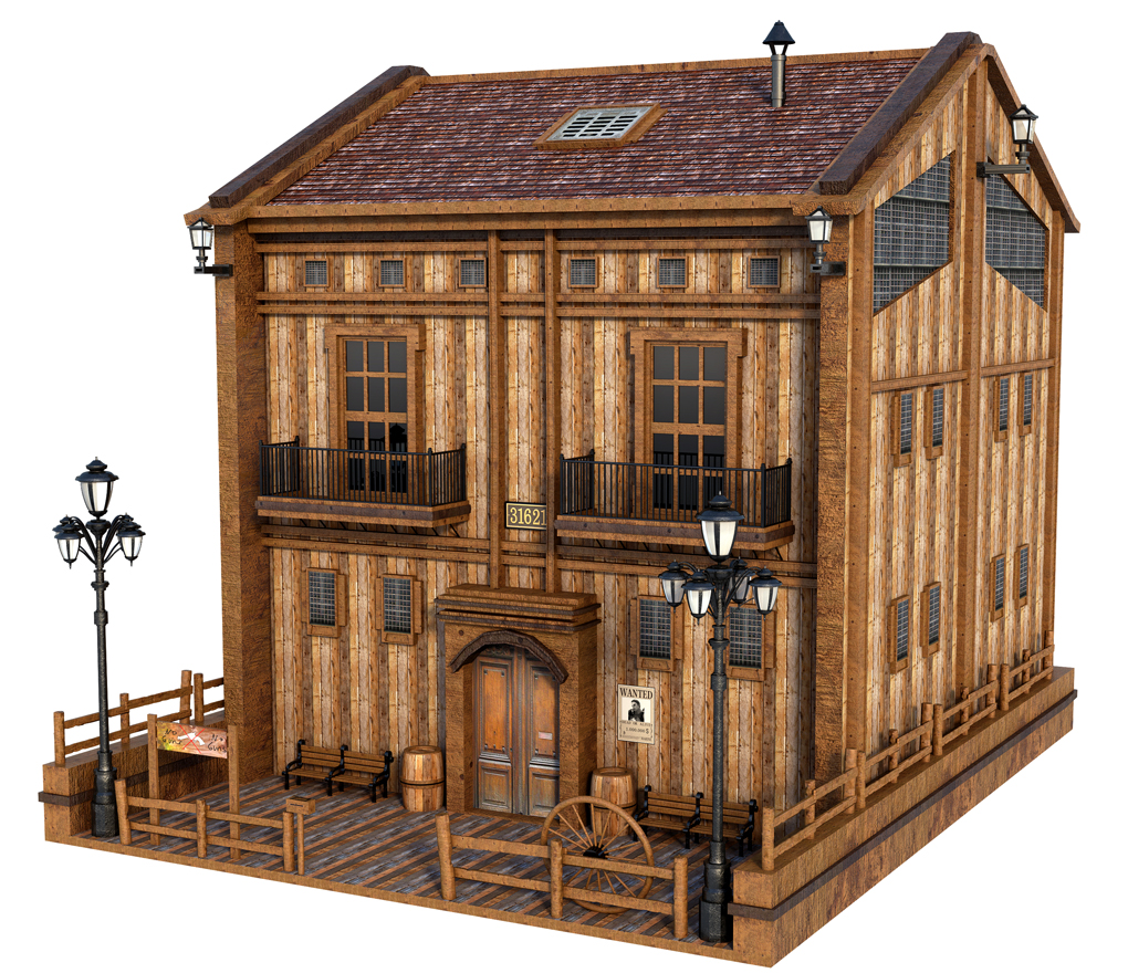 Free 3D Old Wooden House Model
