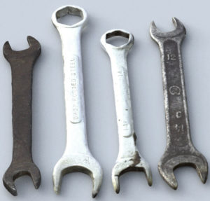 Free 3D Old Wrench Tool Model