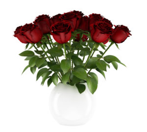 Free 3D Red Roses With White Vase Model
