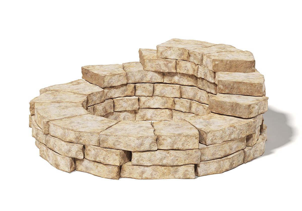 Free 3D Round Stone Wall - Free C4D Models on Granite Models  id=32243