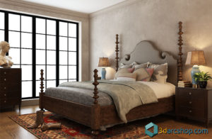 Free 3D Wooden Bedroom Scene