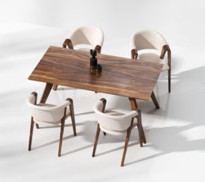 Free 3D Wooden Dinner Table With Chairs