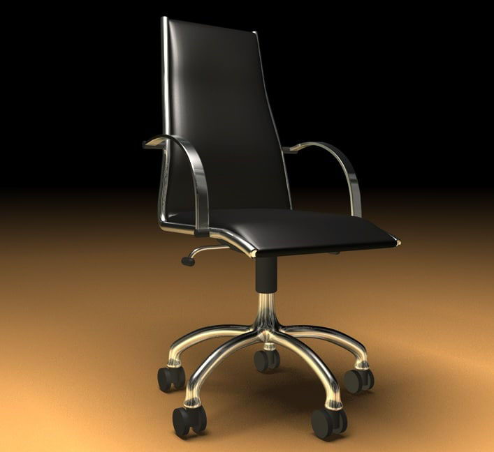 Free Back Leather Office Chair 3D Model